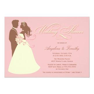 "Elegant bride pink brown wedding shower invitation 5"" x 7"" invitation card"