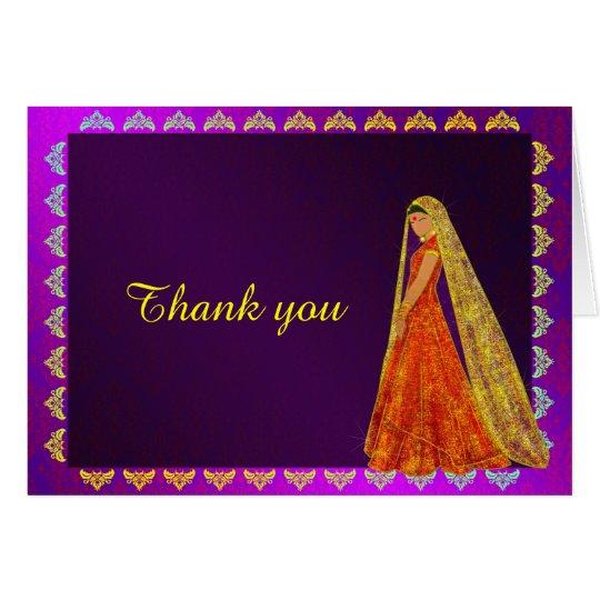 Elegant Bride Wedding Dress Damask Thank You Card