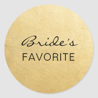 Elegant BRIDE's FAVORITE Wedding Gift Favors Classic Round Sticker
