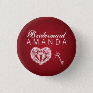 Elegant Bridesmaid Favor Key To My Heart Red 3 Cm Round Badge