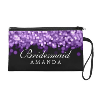 Elegant Bridesmaid Favor Purple Lights Wristlet