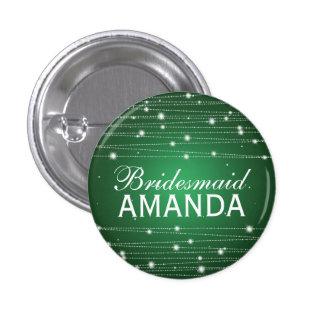 Elegant Bridesmaid Favor Sparkling Lines Emerald 3 Cm Round Badge