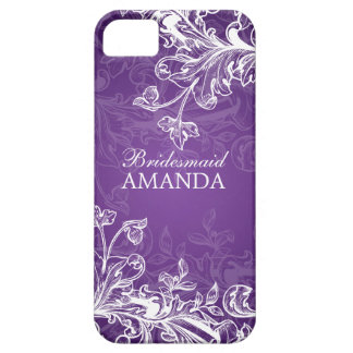 Elegant Bridesmaid Favor Vintage Swirls Purple iPhone 5 Case