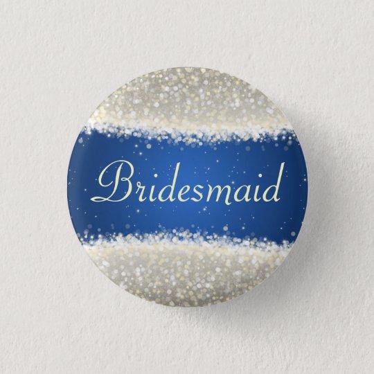 Elegant Bridesmaid Favour Dazzling Sparkles Blue 3 Cm Round Badge