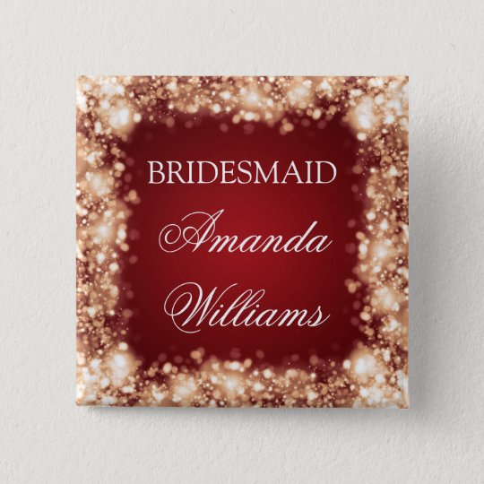 Elegant Bridesmaid Favour Sparkling Lights Gold 15 Cm Square Badge