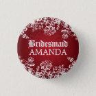 Elegant Bridesmaid Favour Victorian Flourish Red 3 Cm Round Badge