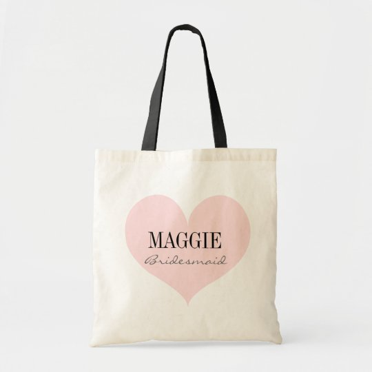 Elegant Bridesmaid pink heart personalised Tote Bag