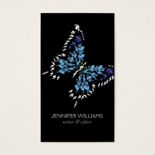 ELEGANT BRIGHT BLUE BUTTERFLY LOGO on BLACK Business