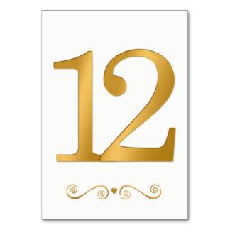 Elegant Bright Gold Faux Metallic Number 12 Card