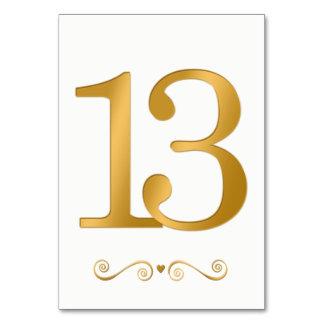 Elegant Bright Gold Faux Metallic Number 13 Card