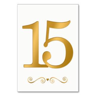 Elegant Bright Gold Faux Metallic Number 15 Card