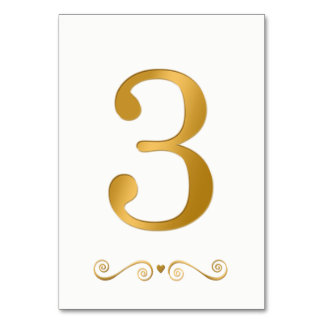 Elegant Bright Gold Faux Metallic Number 3 Card