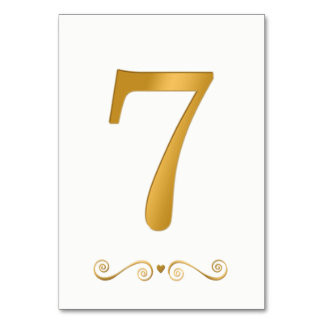 Elegant Bright Gold Faux Metallic Number 7 Card