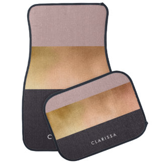 elegant bright rose gold pink grey color block car mat