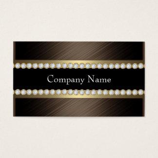 Elegant Bronze Chocolate Black Coffee Diamond Business Card