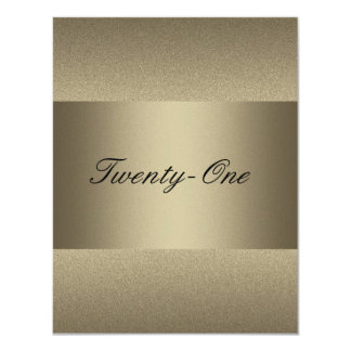 Elegant Bronze Pewter Metal Black 21st Birthday 11 Cm X 14 Cm Invitation Card