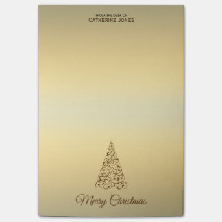 Elegant Brown and Beige Personalized Christmas Post-it Notes