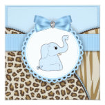 Elegant Brown and Blue Elephant Baby Shower 13 Cm X 13 Cm Square Invitation Card