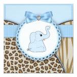 Elegant Brown and Blue Elephant Baby Shower 13 Cm X 13 Cm Square Invitation Card