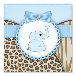 "Elegant Brown and Blue Elephant Baby Shower 5.25"" Square Invitation Card"