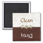 Elegant Brown and Cream Damask Dishwasher Magnet