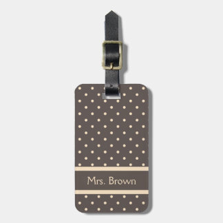 Elegant Brown and Cream Polka Dots Luggage Tag