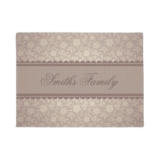 Elegant Brown Beige Floral Customized Text Doormat