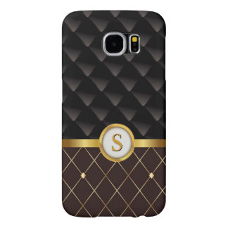 Elegant Brown & Black Diamonds with Gold Monogram Samsung Galaxy S6 Cases