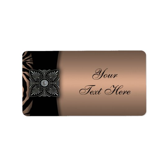 Elegant Brown Black Zebra Address Labels