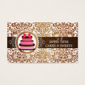 Elegant Brown Damask Pink Cake Diamond Bakery Business Card
