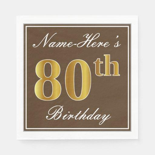 Elegant Brown, Faux Gold 80th Birthday + Name Paper Napkins