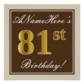 Elegant, Brown, Faux Gold 81st Birthday + Name Poster