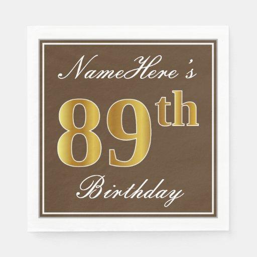 Elegant Brown, Faux Gold 89th Birthday + Name Paper