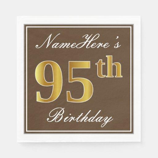 Elegant Brown, Faux Gold 95th Birthday + Name Disposable