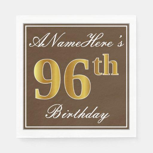 Elegant Brown, Faux Gold 96th Birthday + Name Disposable