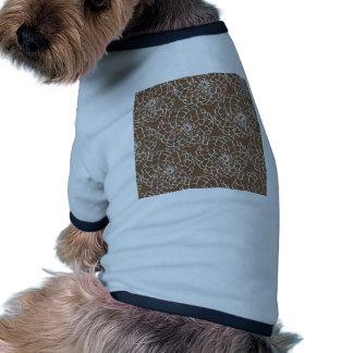 Elegant Brown Flower Sketch Line Art Pattern Dog Clothes