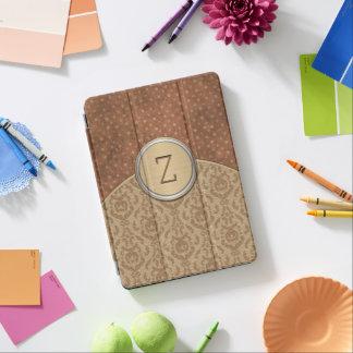 Elegant Brown Orange Monogram iPad Pro Cover