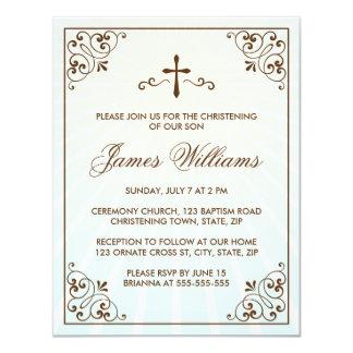 Elegant brown ornate frame christening invitation