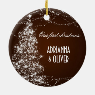 Elegant Brown Shimmering Tree First Christmas Christmas Tree Ornaments