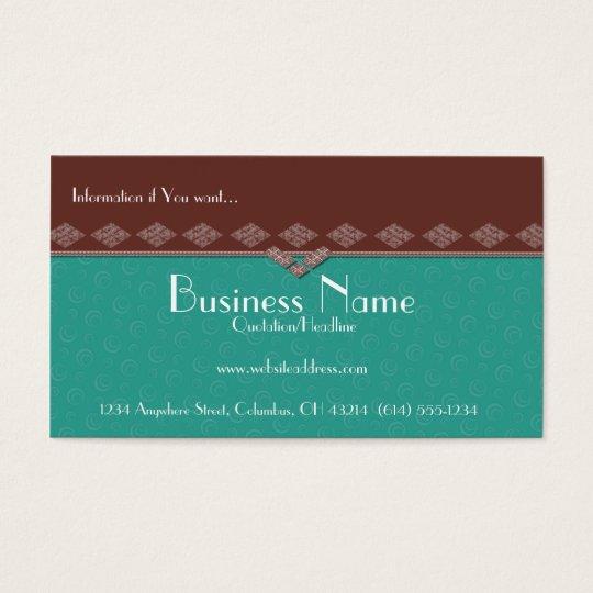 Elegant Brown & Teal Swirls Business Cards