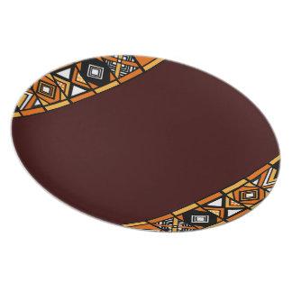 Elegant Brown Tribal African Art Pattern plate