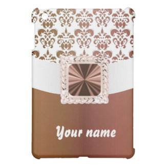 Elegant brown & white damask case for the iPad mini