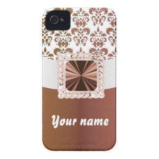Elegant brown & white damask iPhone 4 Case-Mate case