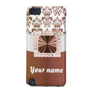 Elegant brown & white damask iPod touch (5th generation) cover