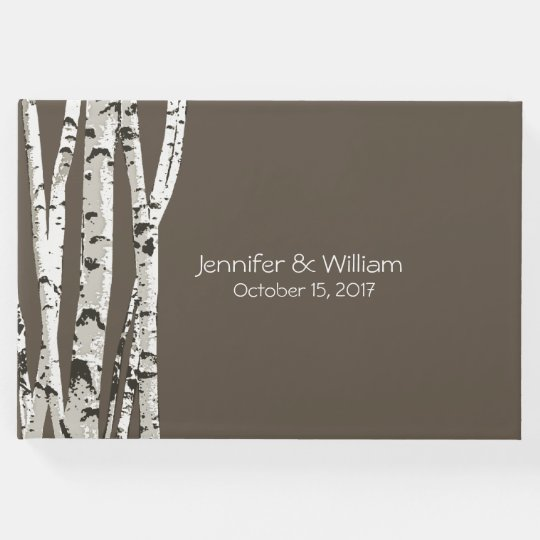 Elegant Brown with Birch Trees Wedding Guest Book