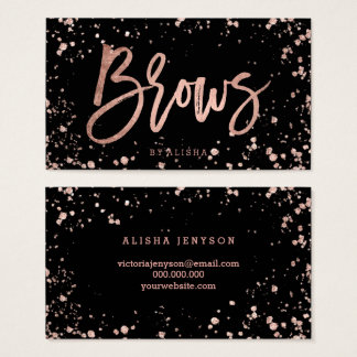 Elegant brows script rose gold confetti splatters business card