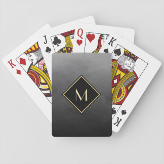 Elegant Brushed Black With Simple Gold Monogram Playing Cards
