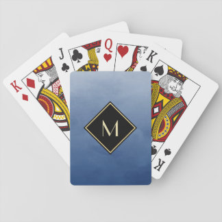 Elegant Brushed Blue With Simple Gold Monogram Playing Cards