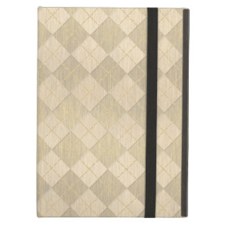 Elegant Brushed Gold Metal Look Argyle Pattern Cover For iPad Air
