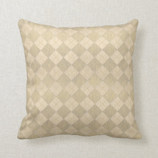 Elegant Brushed Gold Metal Look Argyle Pattern Cushion